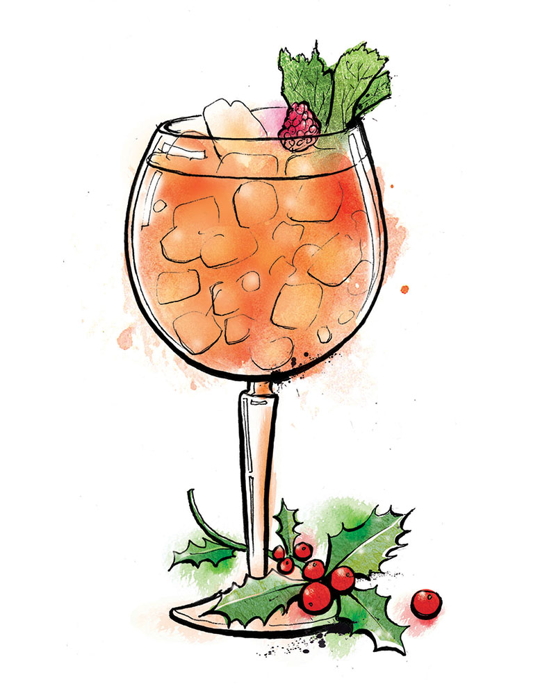 Christmas cocktail illustration, revolucion de cuba