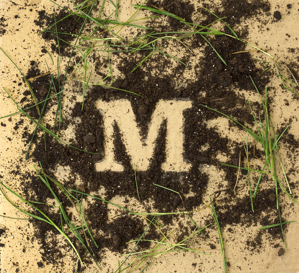 Lettering created out of mud and grass.