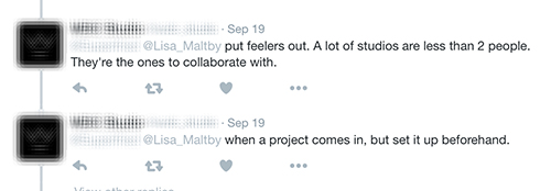 twitter feed about creative collaboration