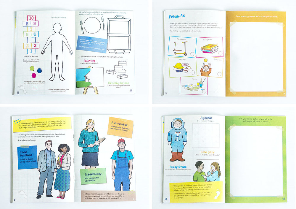 Some of the inside of the journal with lots of fun activities and brighter illustrations
