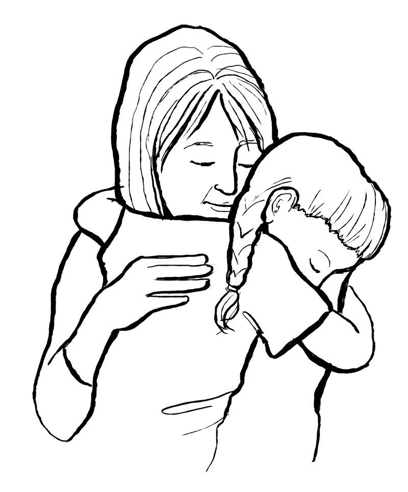 drawing of hug