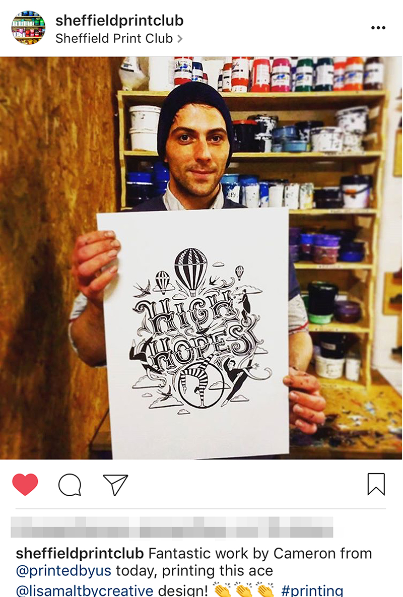 This isn't me when I'm hangery, Bernard, it's a man holding one of my prints that he personally screen printed as part of a  project  that helps to teach the homeless screen printing skills. All the profits of which raise lots of money that go back into the project.