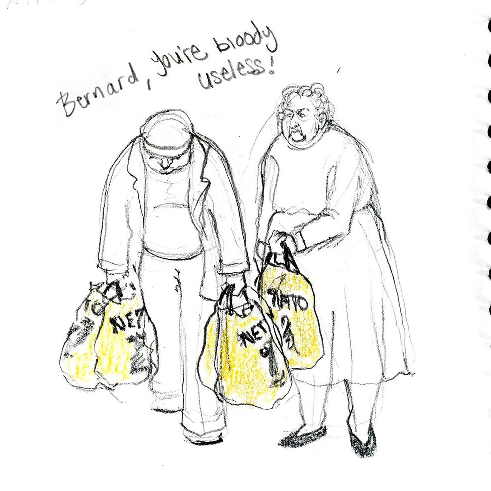 Here's one of the sketches I did when I worked in a supermarket. Funnily enough, he was called Bernard too.
