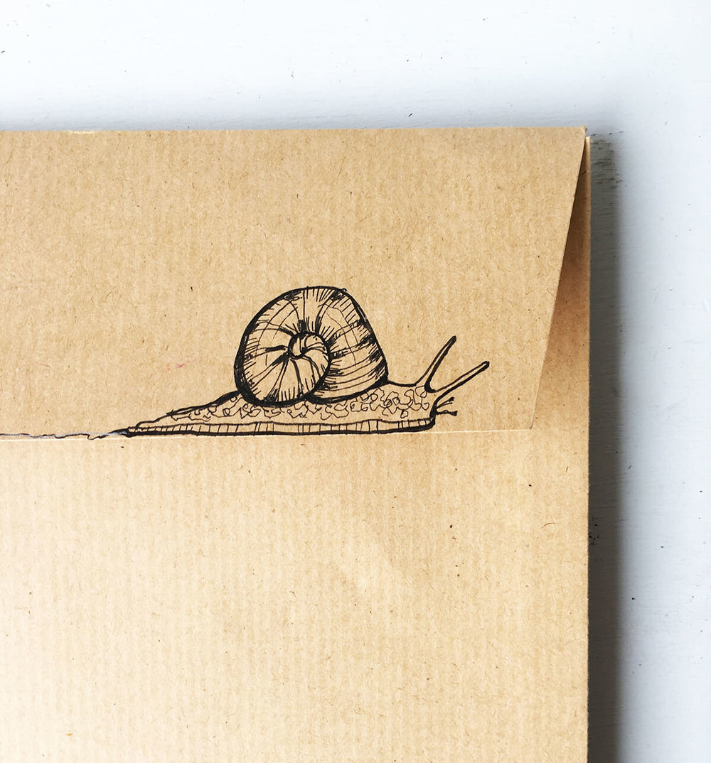 Snail mail - my concept for how the book could be posted as gifts (stuck down with slime).