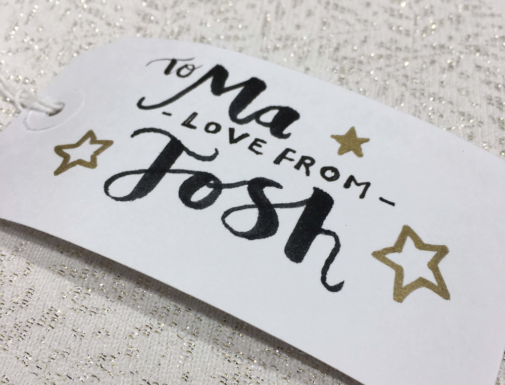 hand lettered gift tag