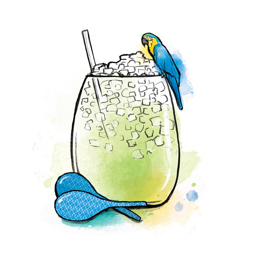 Virgin Atlantic cocktail illustration