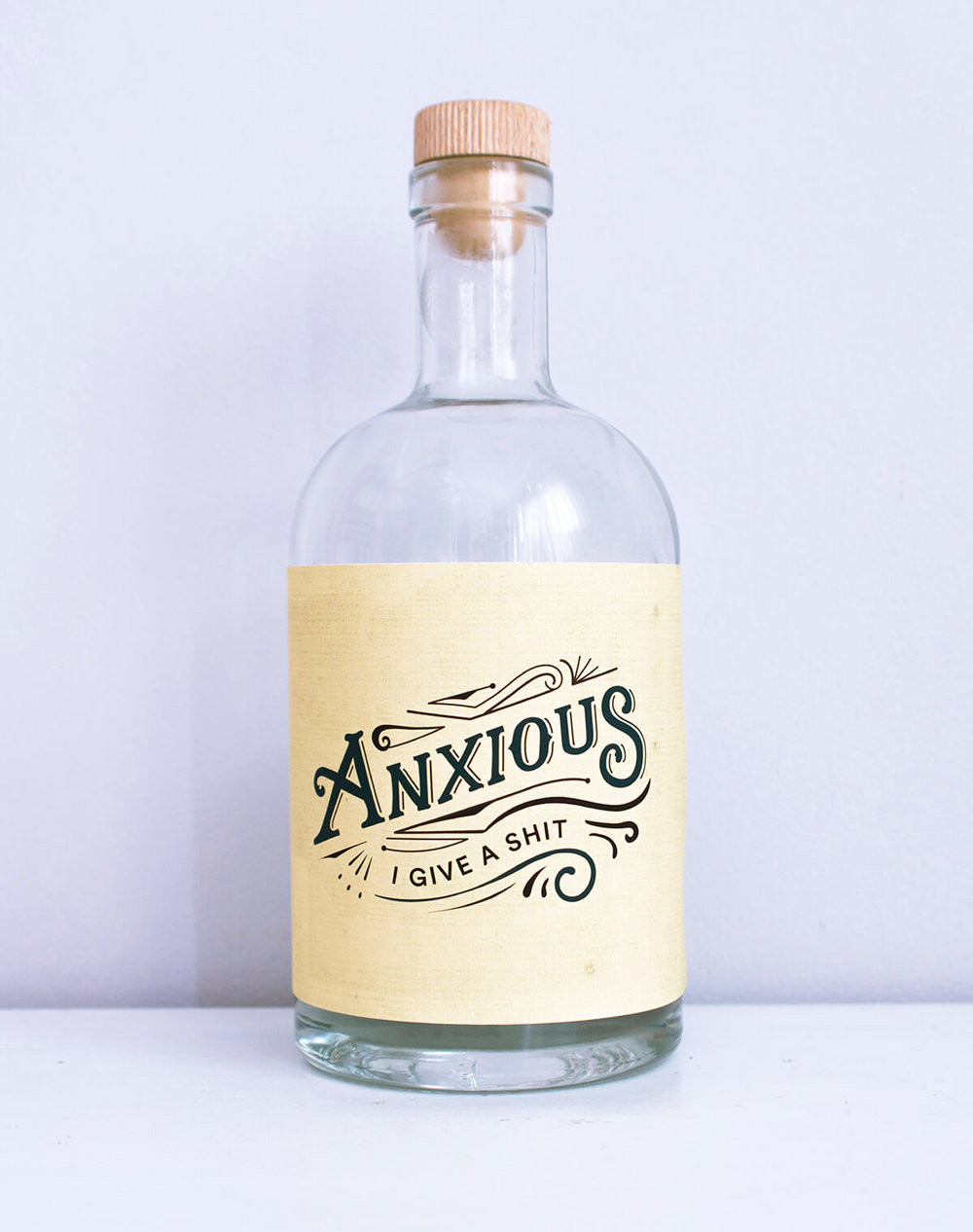 anxious lettering bottle