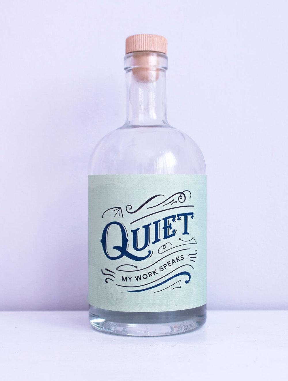 Quiet lettering bottle