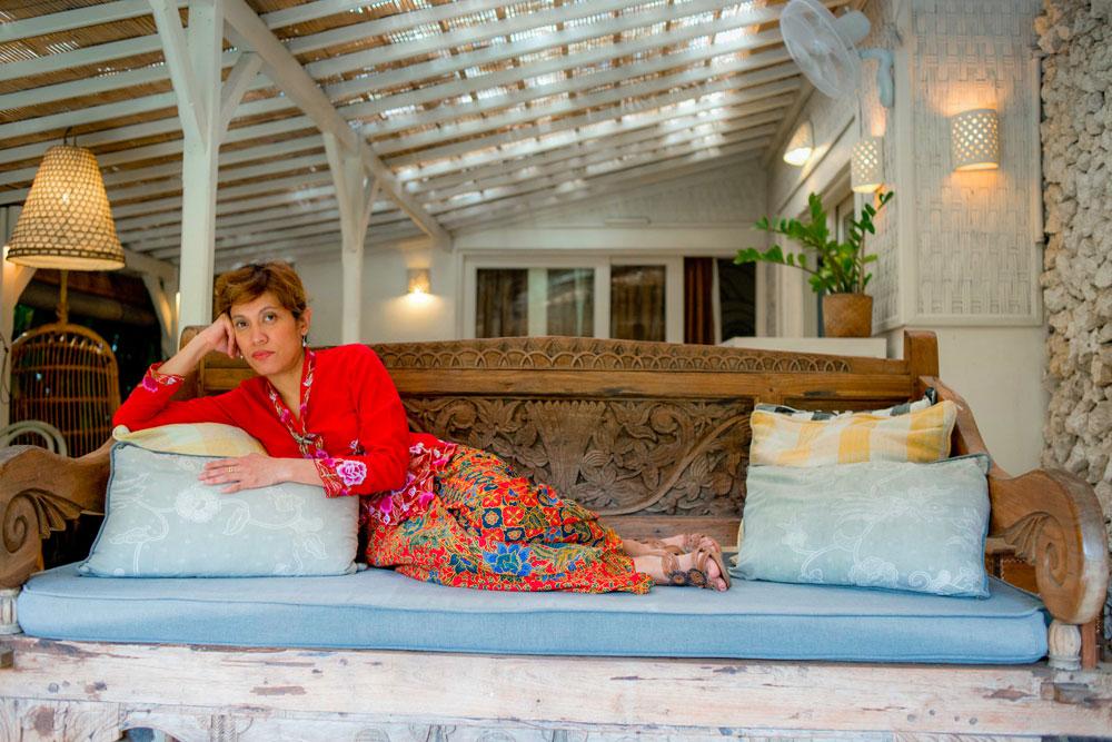 Myself and Salina wearing our traditional kebaya dresses at the Chillhouse in Canggu, Bali.