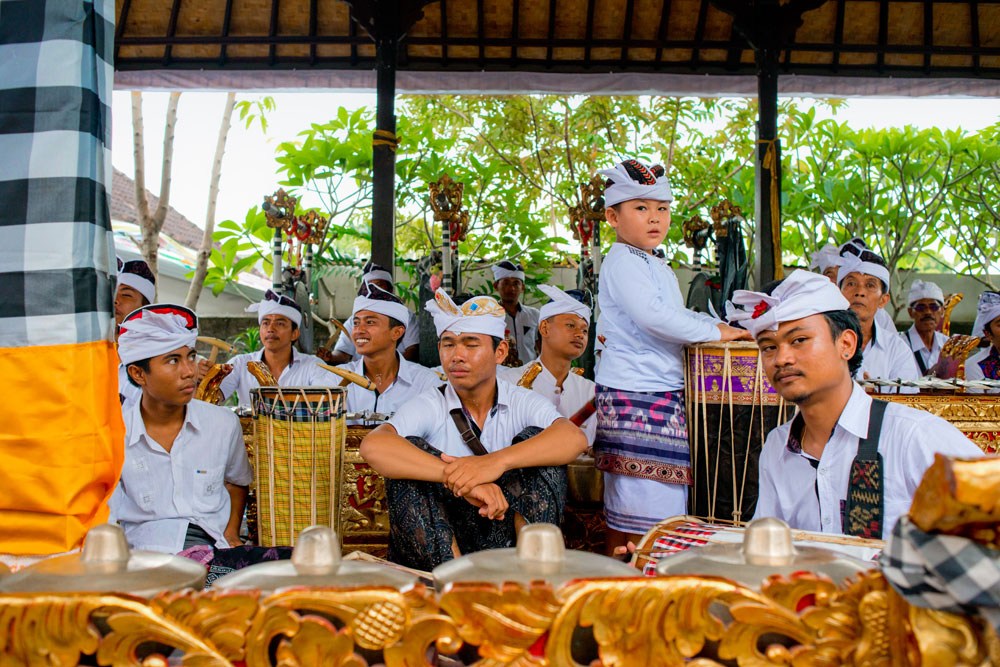 The gamelan band played by skillful village youths who practised for weeks before the ceremony.