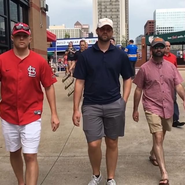 Gotta give it to my boys @wilkinson282009 @codcwood @brandonfrensley for putting together a super chill and relaxing weekend for the Bachelor Party in St. Louis! The Cardinals beat the Cubs, Drew managed to not get a speeding ticket, Cody stared dead at the camera the entire time I took the video😂 and Brandon figured out a wedding hashtag for me and Kate! 👏👏👏Thanks my dudes, see y'all in Indiana for #solemnlysullivan or #suddenlysullivan still haven't decided which yet🤔🧐And no, the #superstache is no longer with us that was a limited time offering🤨... • • • #bachelorparty #oldfriendsgettingolder #groomsmen  #gocardinals #cardinalsnation #stlouis  #heywardsucks  #idontcare #photobombed