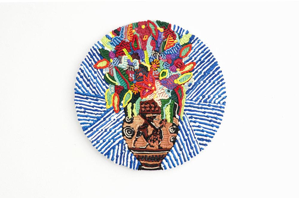 Caroline Larsen_Achilles Slaying Penthesilea_Oil on Canvas_20 cm (diameter)_2018 .jpg