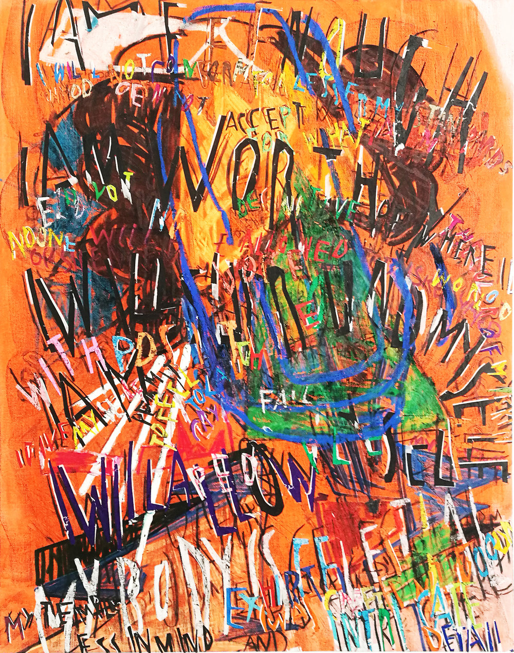 Despina Stokou_RGB affirmations (orange)_Oil and mixed media collage on canvas_123 x 91cm _2018.jpg