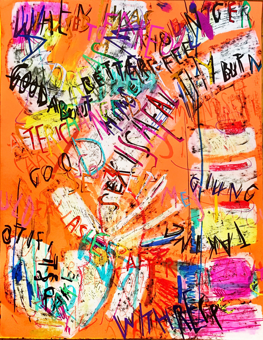 Despina Stokou_Wallflower (peach)_Markers, pastel, and paper collage on primed neon colored paper_71 x 56 cm_2018.jpg