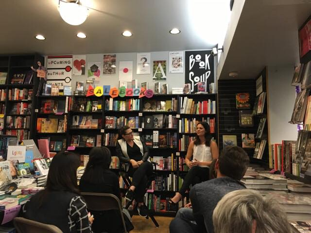 On stage at Book Soup with Taylor