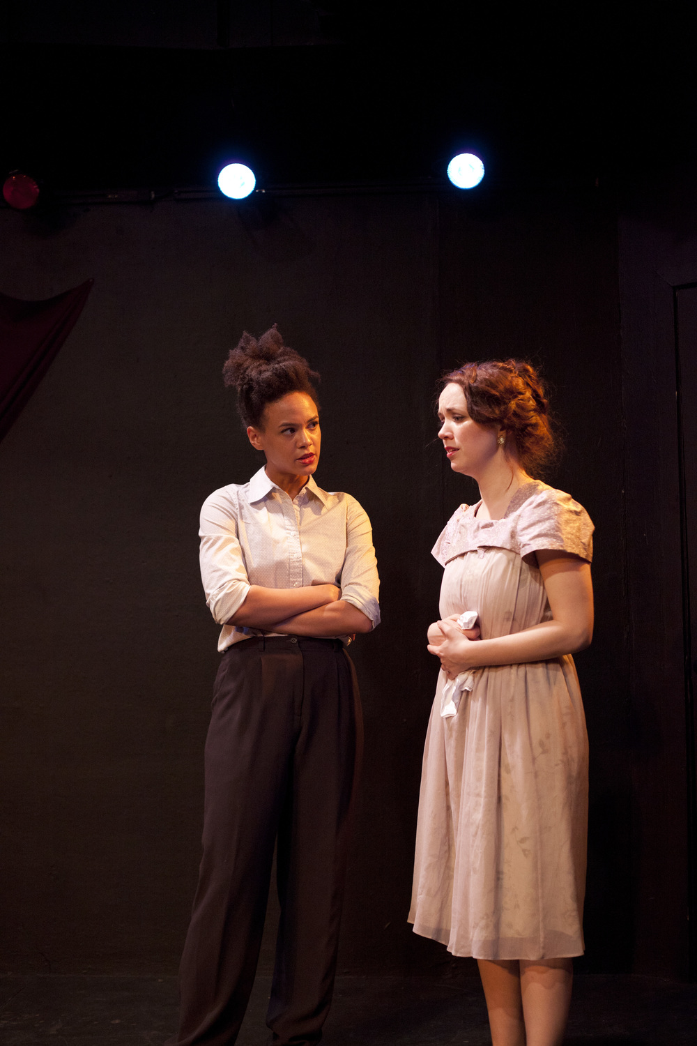 Production image of Horatio (Monique St. Cyr) and Ophelia (Gwenevere Sisco) in  May Violets Spring  when produced with  Dare Lab  at The Bridge Theatre in Spring 2014.  Photographs by  Trish Phelps .