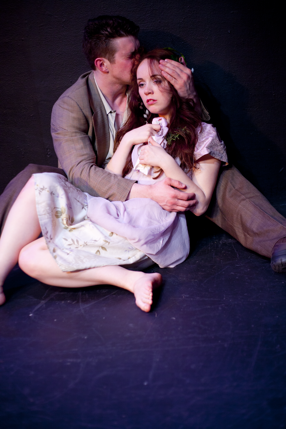 Production image of Laertes (Mat Leonard) and Ophelia (Gwenevere Sisco) in  May Violets Spring  when produced with  Dare Lab  at The Bridge Theatre in Spring 2014.  Photographs by  Trish Phelps .