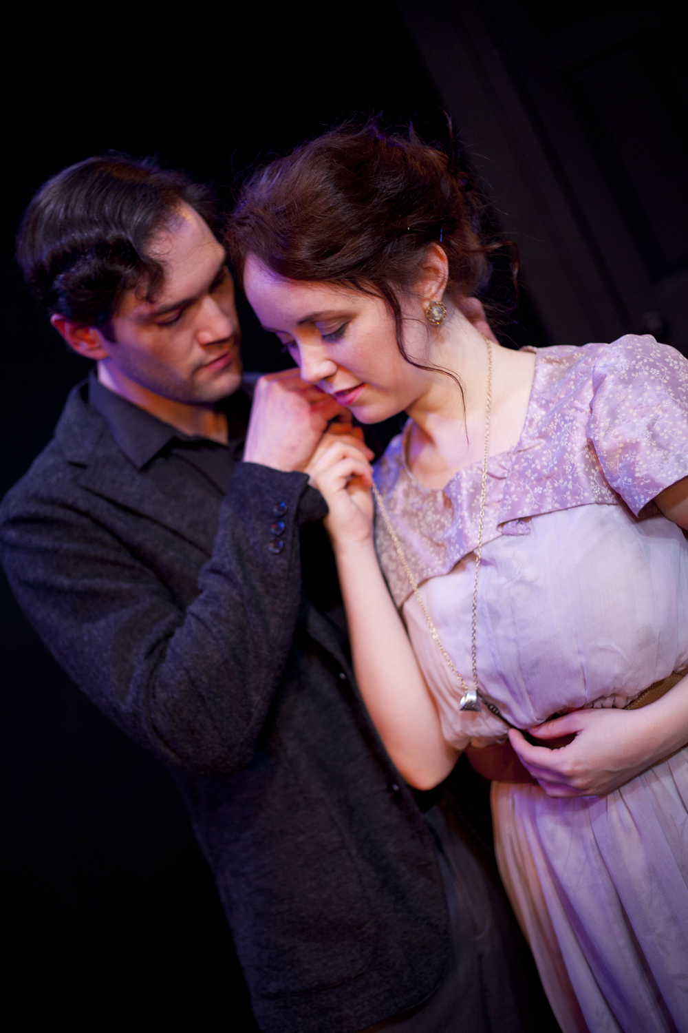Production image of Hamlet (James Parenti) and Ophelia (Gwenevere Sisco) in  May Violets Spring  when produced with  Dare Lab  at The Bridge Theatre in Spring 2014.  Photographs by  Trish Phelps .