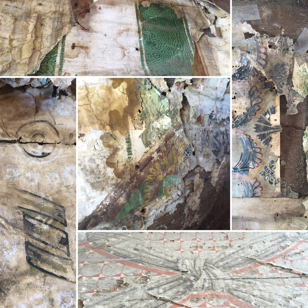 Examples of several different wallpapers David has uncovered. They date from different time periods.