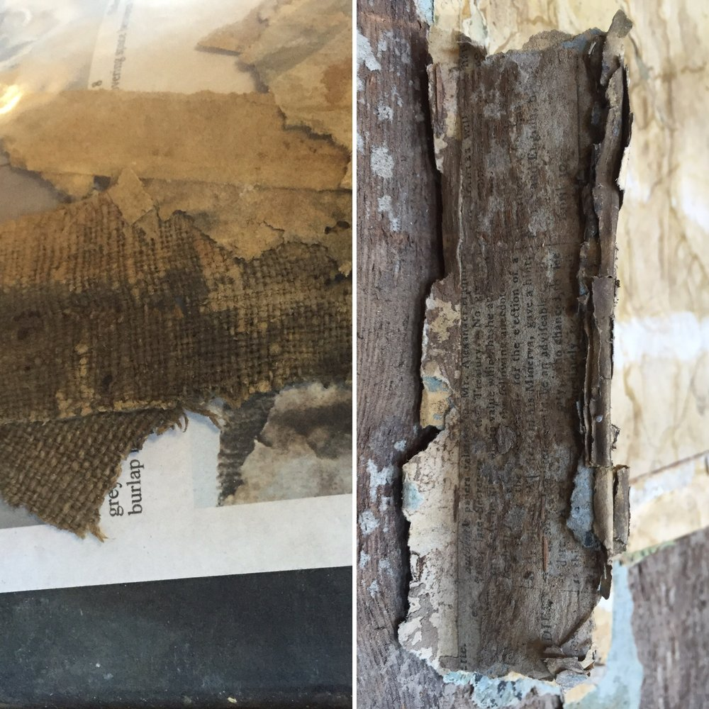 Left: muslin wallpaper backing Right: newspaper wallpaper backing.