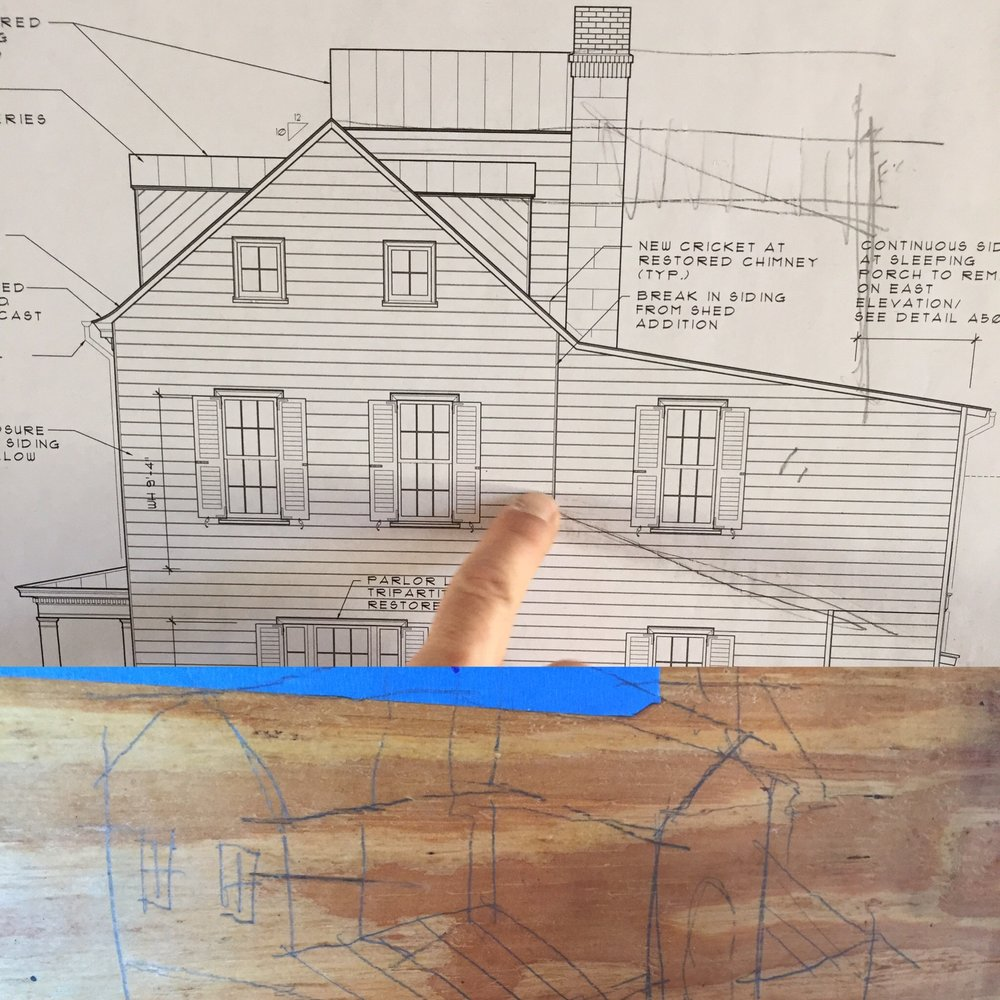 Top: a side view of the house showing its original profile and later additions onto the back. Also David's finger. Bottom: a quick sketch on plywood of the house's rear aspect before more additions were made to it in the 19th century.