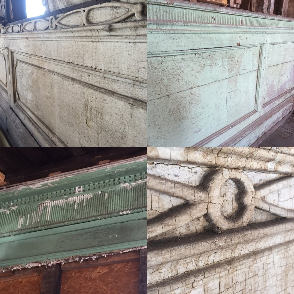 Top: two different styles of original wainscoting in the upstairs rooms. Bottom left: carved wood moulding around the ceiling of the upstairs ballroom. Bottom right: a closeup of the wooden wainscoting.