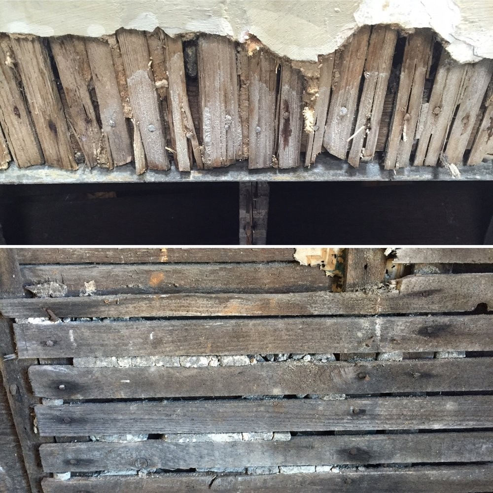 Exposed plaster and lath in the attic. Top: hand-cut wooden lath. Bottom: newer, machine-cut lath.