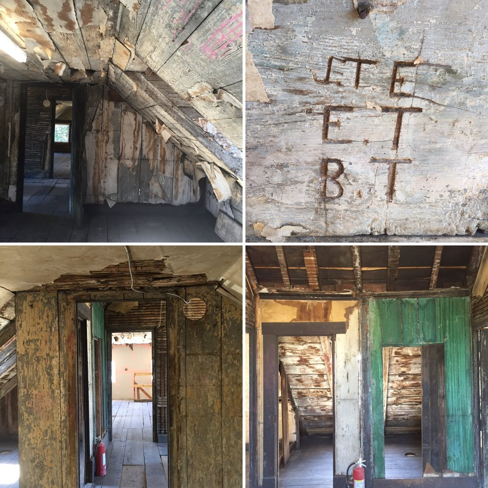 Three view of the attic, plus some initials carved inside one of the dormers.