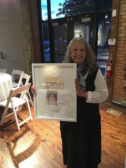Shelley Hickman Clark with her 2017 LPA Preservation Achievement Award.