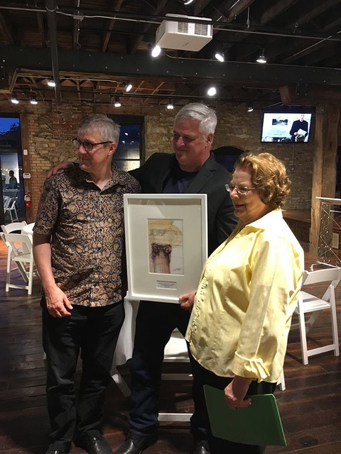 2017 LPA Preservation Achievement Award winner Karl Gridley with his broth Mark and mother Marilyn.
