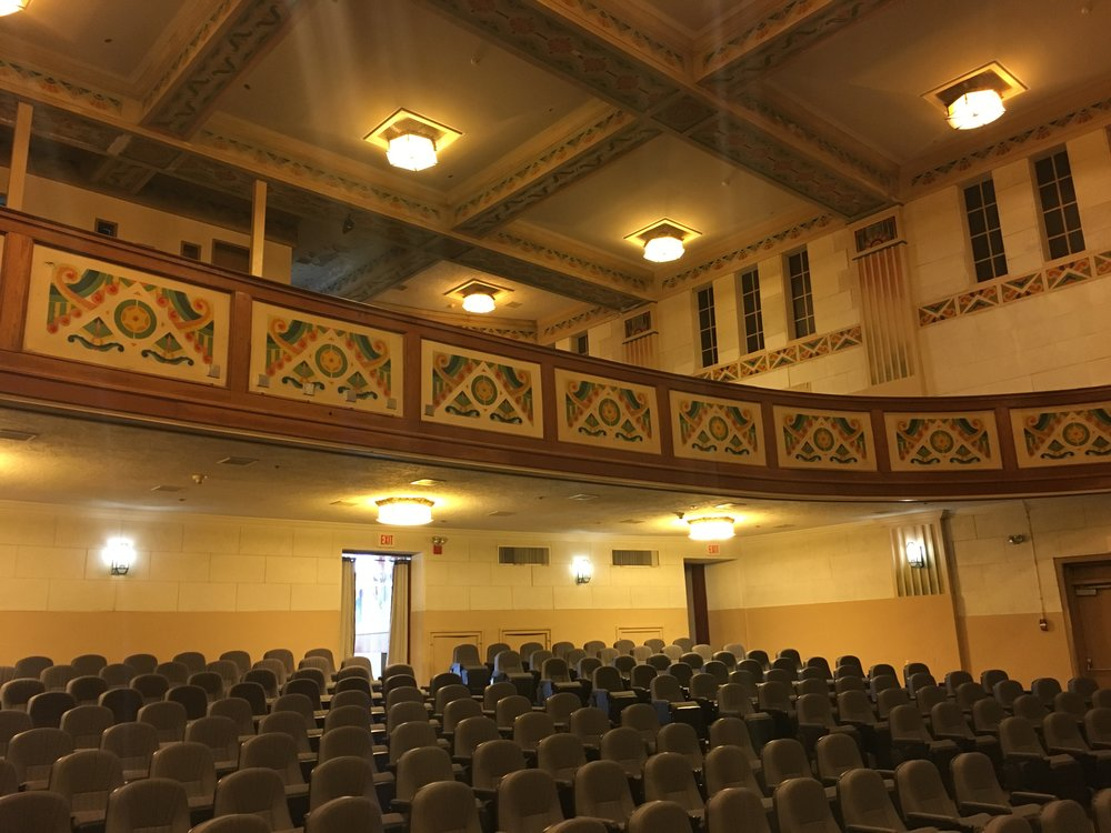Art Deco auditorium balcony and ceiling
