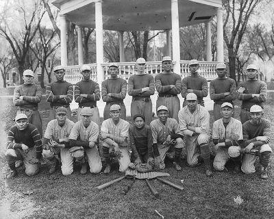 The Haskell baseball team, circa 1917, courtesy of    Haskell Cultural Center & Museum   .