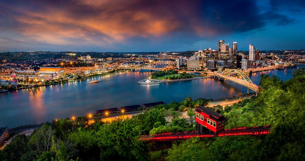 Pittsburgh, PA from Mount Washington at sunset