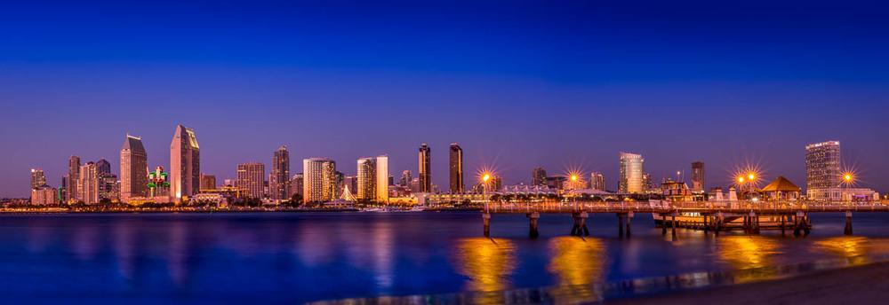 San Diego Skyline from Coronado with Pier