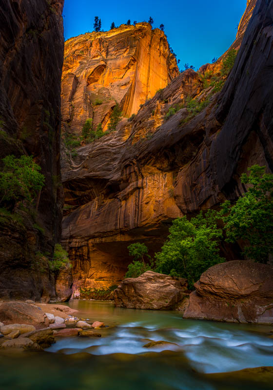 Glowing Mountain in the Narrows at Zion National Park