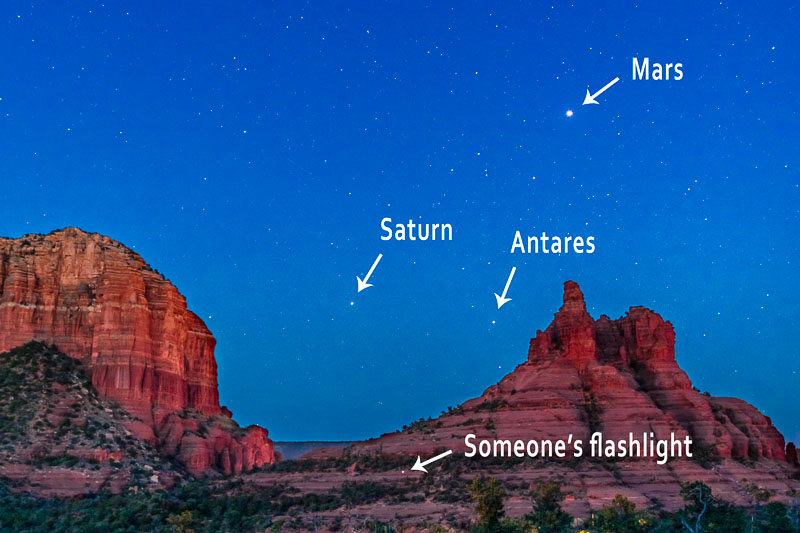 Details of previous photograph showing Mars, Saturn, and Antares