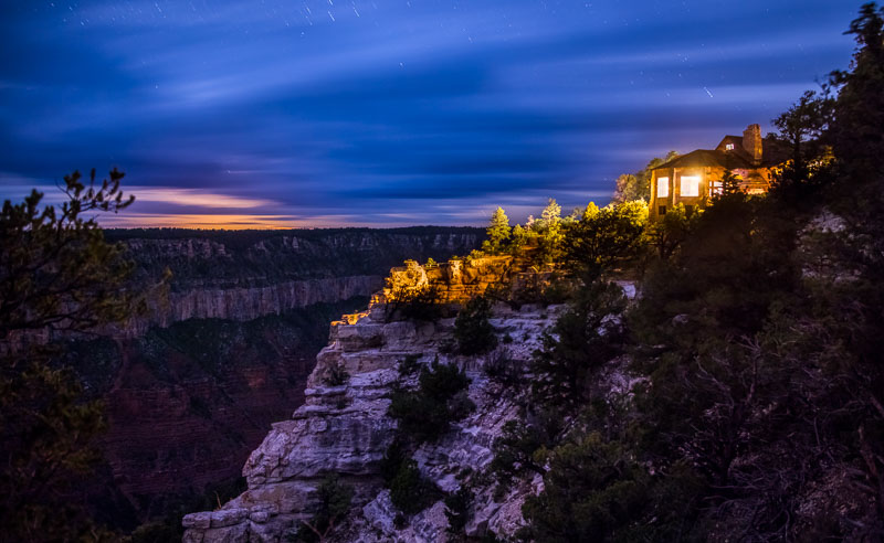Grand Canyon Lodge on the North Rim on a cloudy night