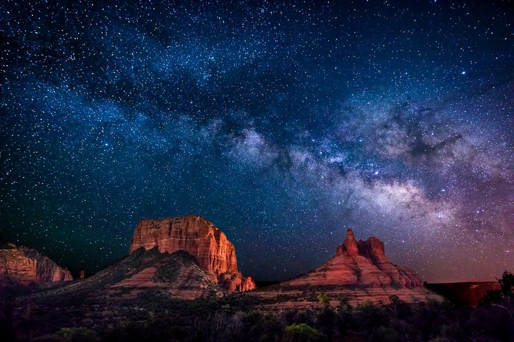 Sedona Milky Way Two Buttes Fine Art Photography by Michael Tessler.jpg