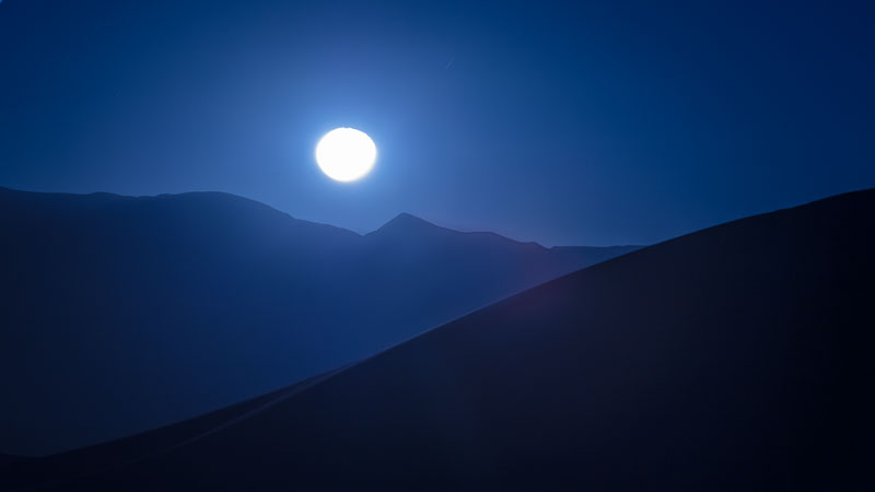 Moon rising over the Mesquite Sand Dunes, Death Valley National Park