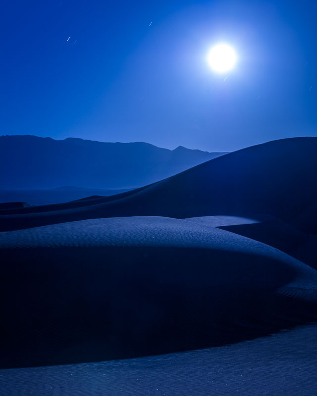 The Moon over the Mesquite Sand Dunes, Death Valley National Park
