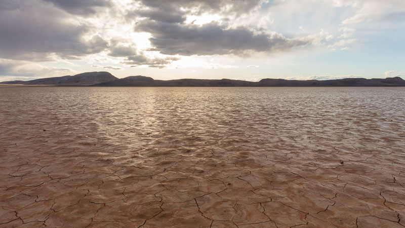 The shiny surface of Delamar Dry Lake, Nevada