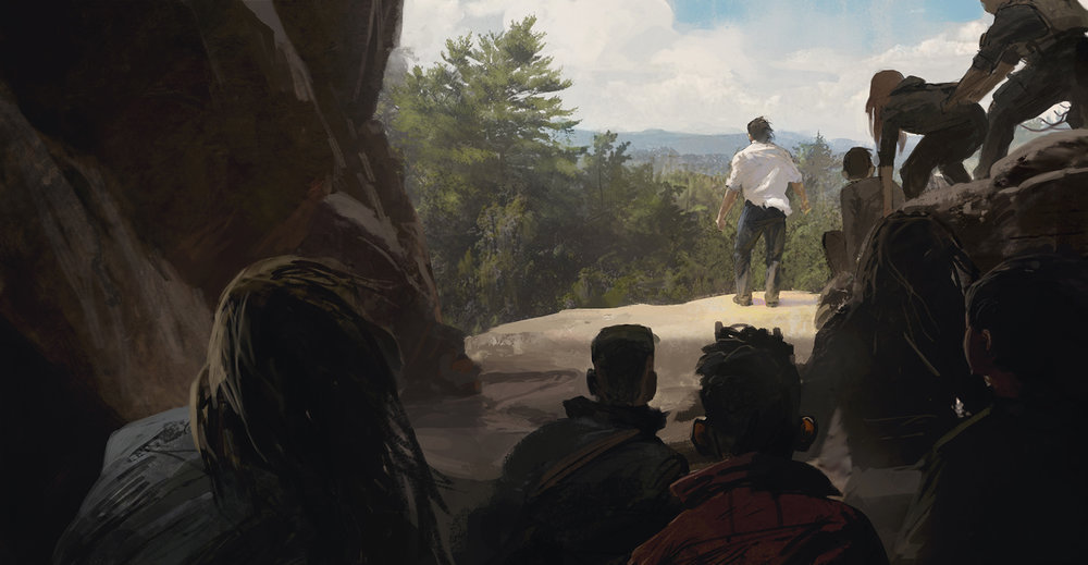 A sketch from a lost chase sequence in which Logan leads the party down this cliff face.