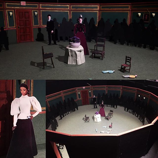 Sets and costumes for an immersive A Doll's House: Part 2 at NYU starting to come together. #halfinchscale #setmodel #setdesign #costumedesign  #whatcolorshouldthetableclothsbe