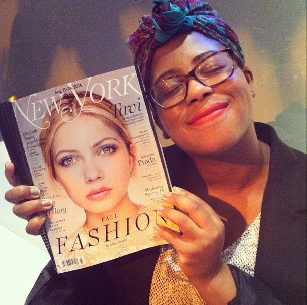 At @thecut party hanging out with @tavitulle's face.