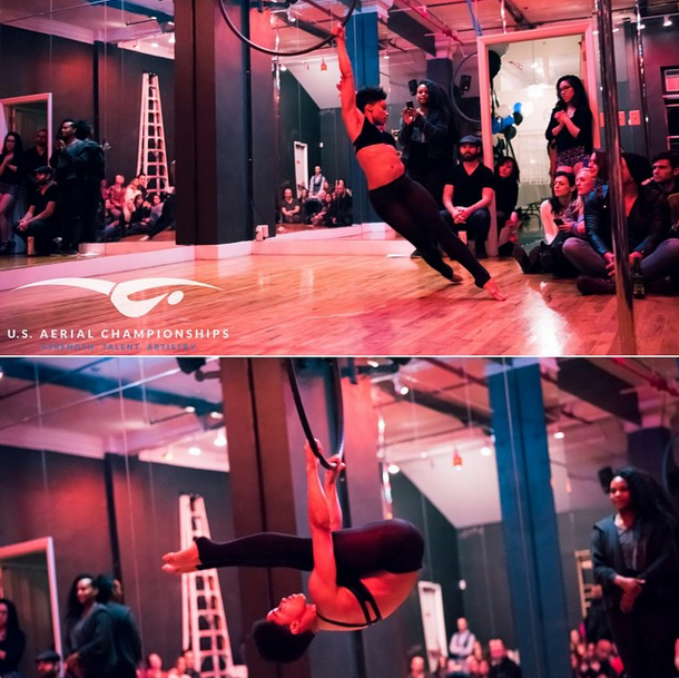 """My first aerial hoop performance. It makes me smile every time I look at this picture. I remember the warm support of friends, studio (Body + Pole) and the exhilaration of performing in front of a crowd."" - Angela Denae 