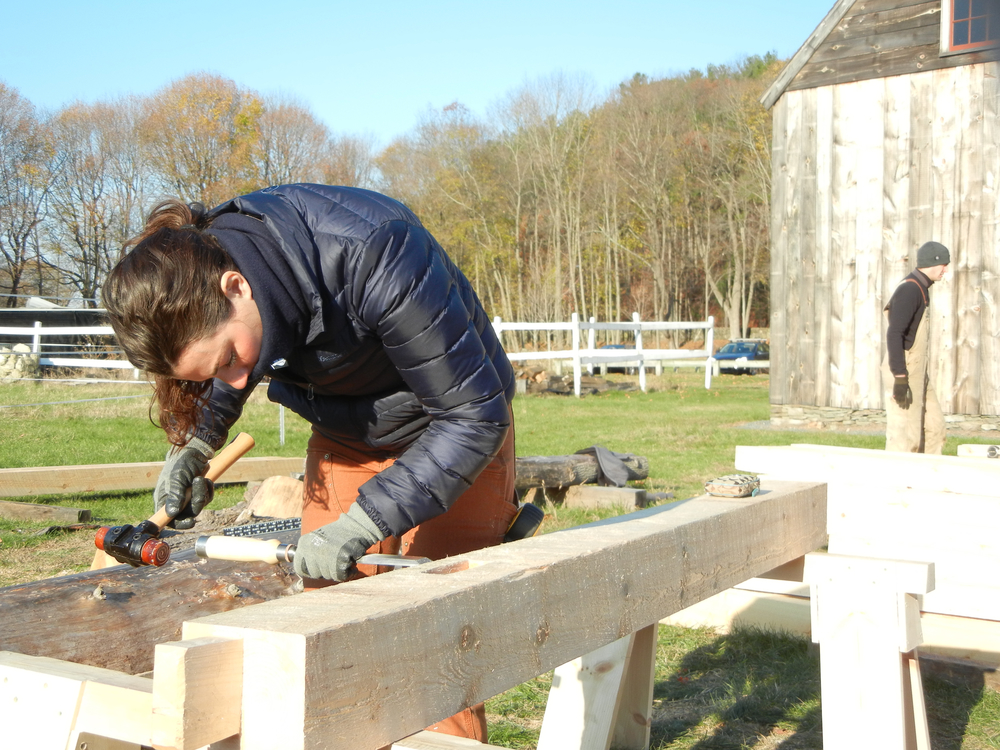 """Here, I'm using a timber framing chisel and rawhide mallet to square rule a mortise."" 