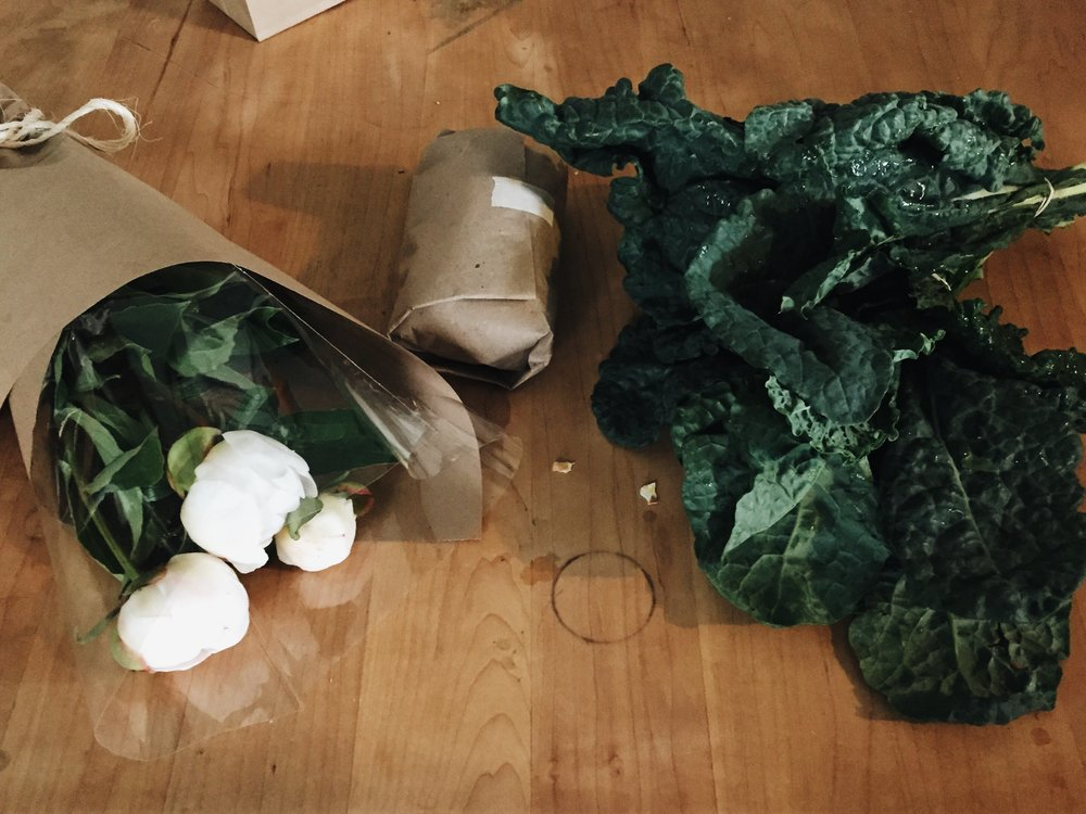 Peonies,  ground bison , kale.