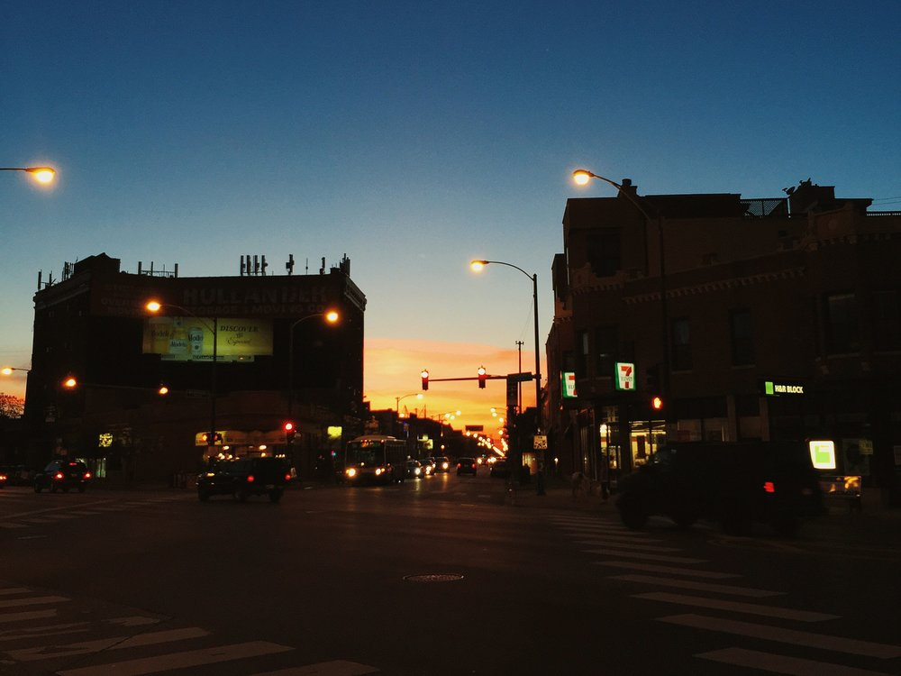 """This was one of those serene moments when everything feels right. You're by yourself biking home at dusk, you stop at an intersection and take in everything around you and think about how great it is to live in such a big, diverse city."""