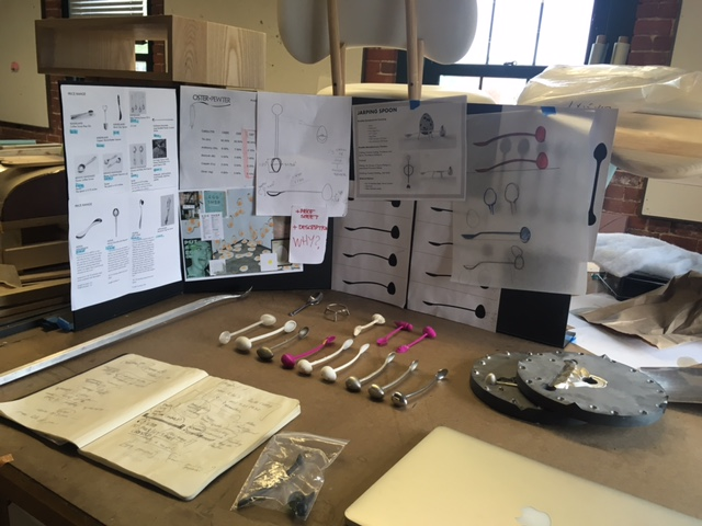 My desk, market and price research, inspiration board, form studies, various prototypes and the rubber mold can be seen here.