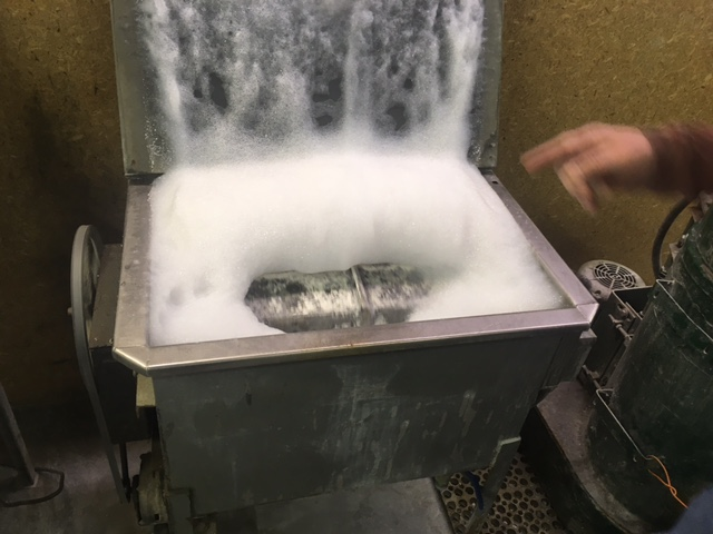 Polishing machine at work.